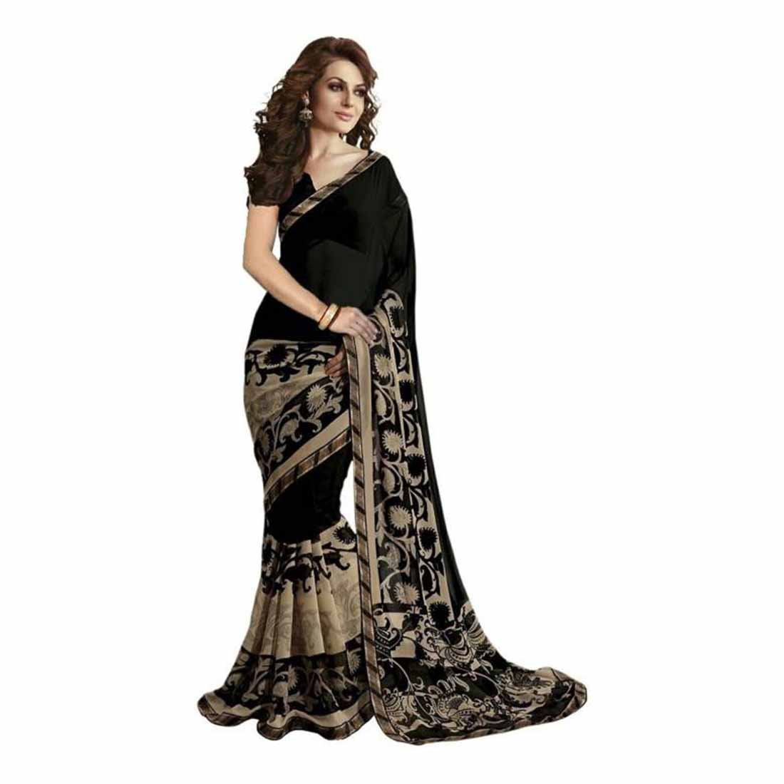 Indian Handicrfats Export Printed Bollywood Pure Georgette Saree (Black) FKSAR-0063