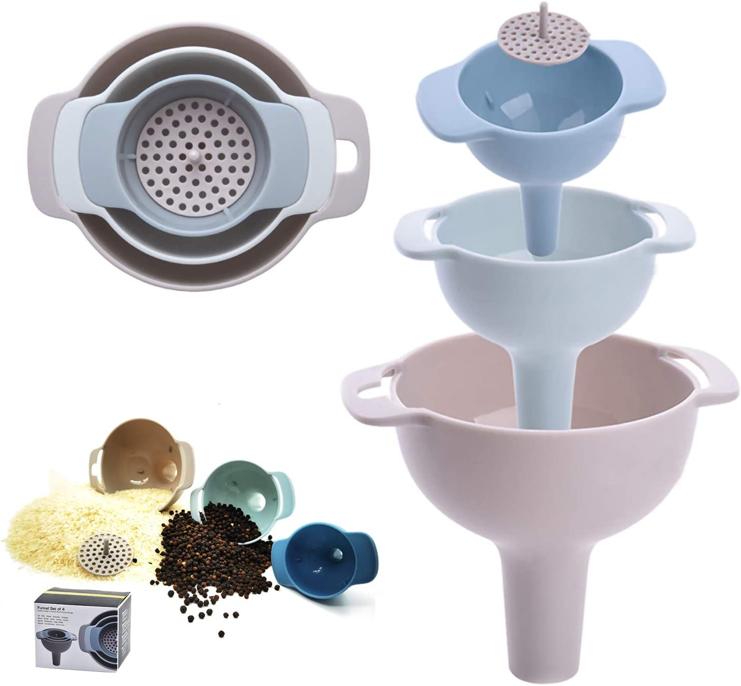 Kitchen Funnels for Filling Bottles,Funnels Set of 3,Oil Funnel,Tough and not easily deformed,Suitable for all kinds of solid food and liquid