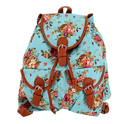 Vintage Floral Ladies Canvas Bag School Bag Backpack - 9
