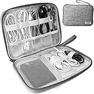 Electronics Accessories Organizer Bag, Travel Cable Organiser Bag, Universal Carry Travel Gadget Bag for USB Cable Drive, SD Card,Charger Hard Disk (Gray)