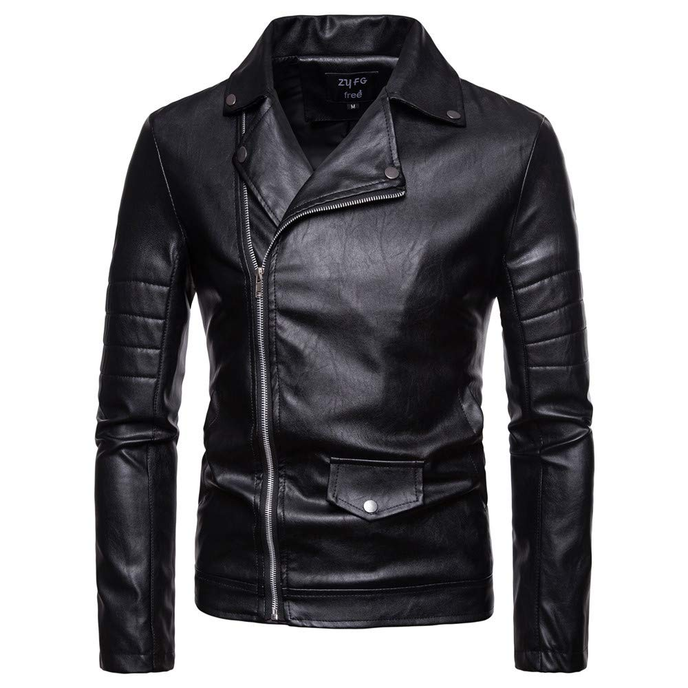Mens Overcoat,Men's Leather Jacket Shirt Windbreaker,Faux Fur Jacket Men(M,Black)