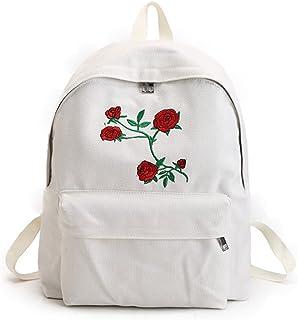 Hosaire Sac à Main en Toile Mode Motif de Roses Fleur brodées Sac à Bandoulière Femme Loisirs Sacs de Voyage Cartable Scolaire Fille