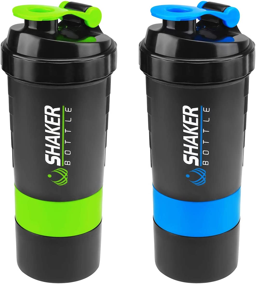 Protein Shaker Bottle, 22oz Shake Bottle with 3 compartments Storage for Powder, Leak Proof Sport Mixer Bottle, Bap-free and Durable, Measurement, Mixing Grids, Classic Shake Cup for Post Pre Workout