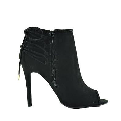48b76a1802b Qupid Ara 277 Women s Peep-Toe Zip Laced Ankle Bootie Heels (6