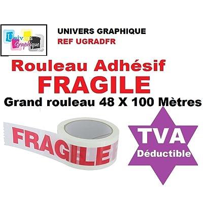 1 Rouleau Adhésif FRAGILE - 48 X 100 MÈTRES- (40% de plus que les 66 mètres)- rouleau pour emballage, expédition - ruban adhésif de haute qualité idéal pour carton, emballage,
