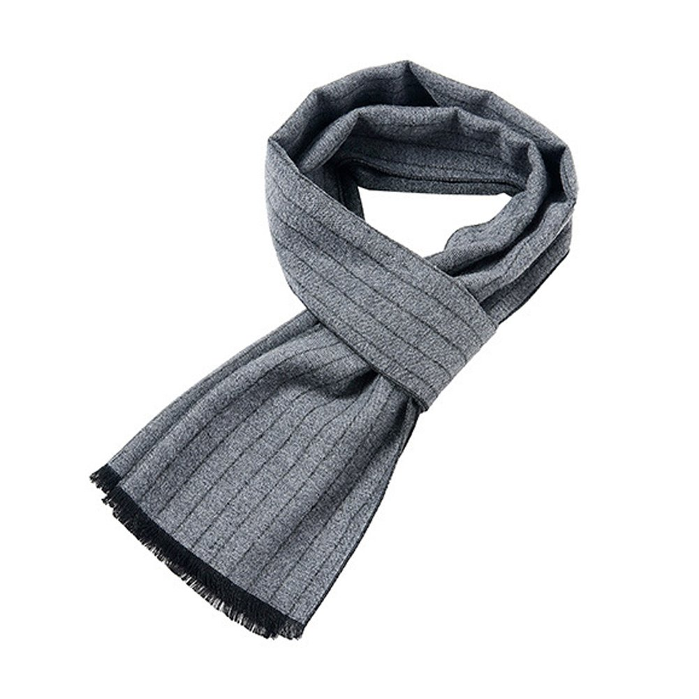 Mens Classic Long Fringe Striped Scarf Fashion Gentleman Business Scarves (Grey) by HiRosy (Image #3)