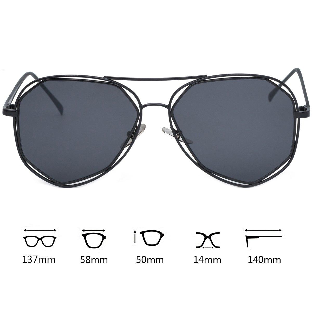 WISH CLUB Oversized Irregular Aviator Sunglasses for Women Men Fashion Stylish Modern Mirrored Glasses