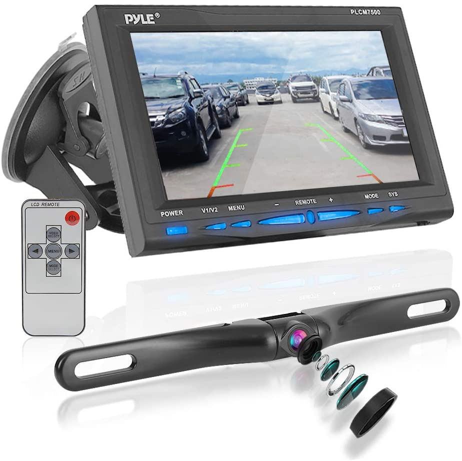 """Rear View Backup Car Camera - Screen Monitor System w/ Parking and Reverse  Assist Safety Distance Scale Lines, Waterproof & Night Vision, 9"""" LCD video"""