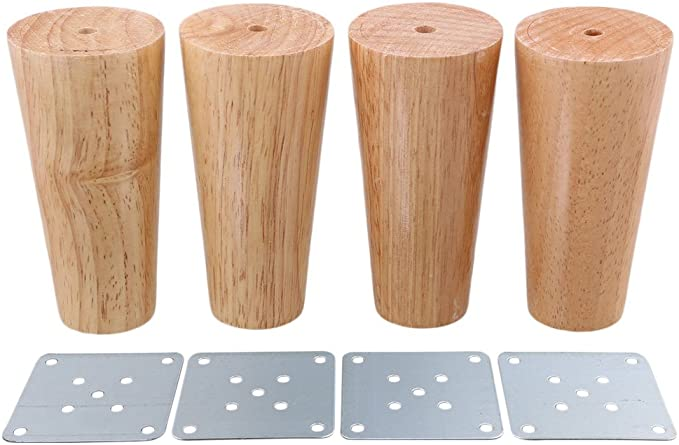 Doublelife Furniture Legs Patas de Madera para Muebles oblicuas C/ónicas