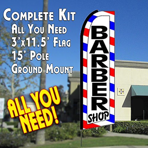 BARBER SHOP (Border) Flutter Feather Banner Flag Kit (Flag, Pole, & Ground Mt) (Outdoor Banner Sign)