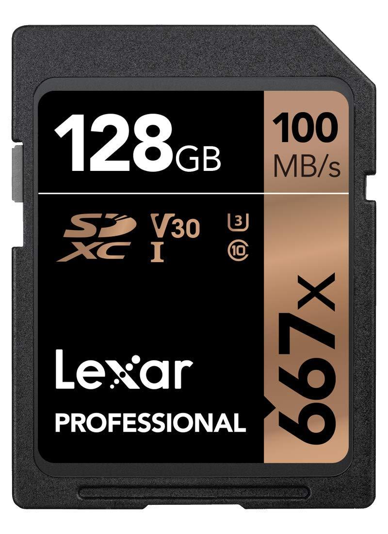 Lexar Professional 667x 128GB SDXC UHS-I/U3 Card (LSD128BNA667) by Lexar