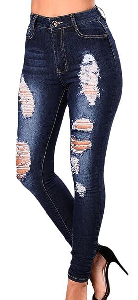Amazon.com: pujingge - Pantalones vaqueros de cintura alta ...