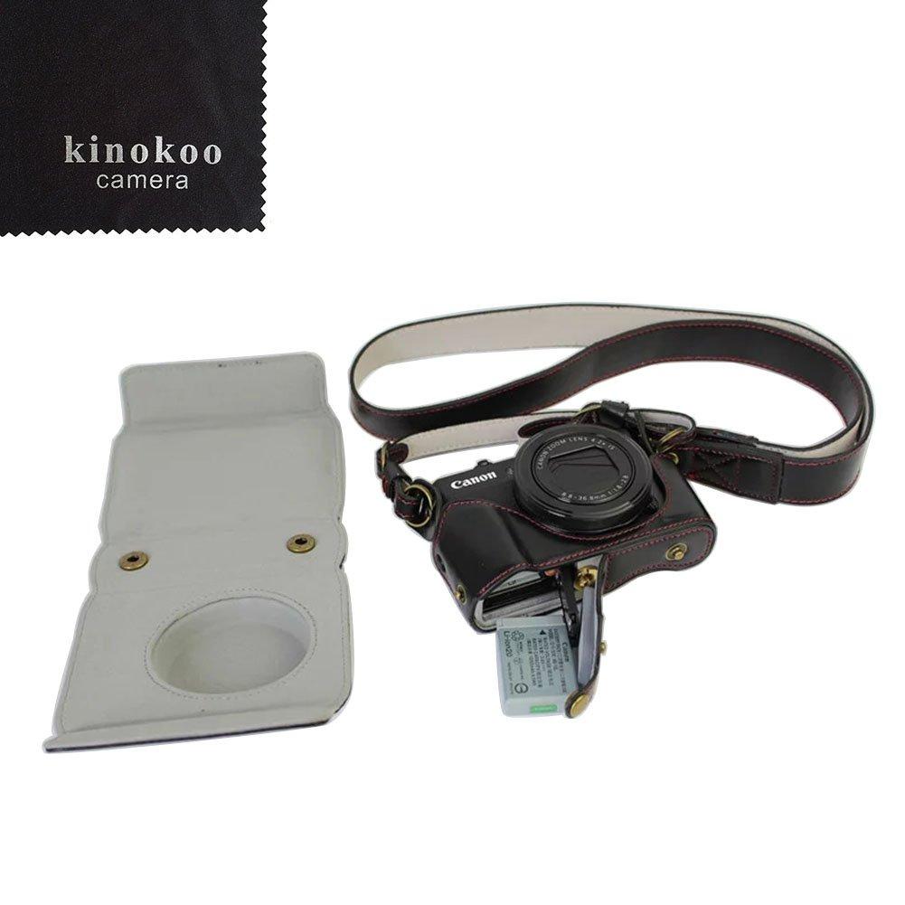 Kinokoo É tui en cuir PU pour appareil photo Canon G7X II avec grande sangle Plusieurs coloris au choix. CANON-G7X-2DLX-CFM-DS