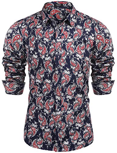 COOFANDY Men's Paisley Cotton Long Sleeve Shirt Floral Print Casual Retro Button Down Shirt(Navy Blue,M) -