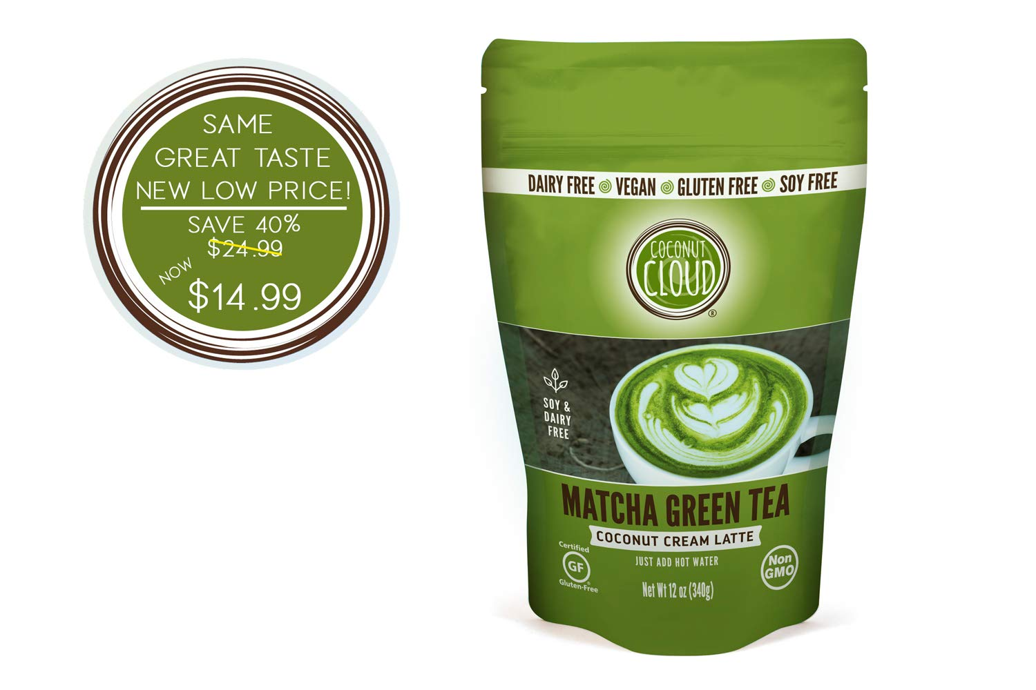 Coconut Cloud: Matcha Green Tea Instant Latte, Just add Water, 21 servings | Made from Japanese Green Tea & Coconut Milk Powder | Delicious, Rich & Creamy (Great in Smoothies & Recipes), 12 oz pouch