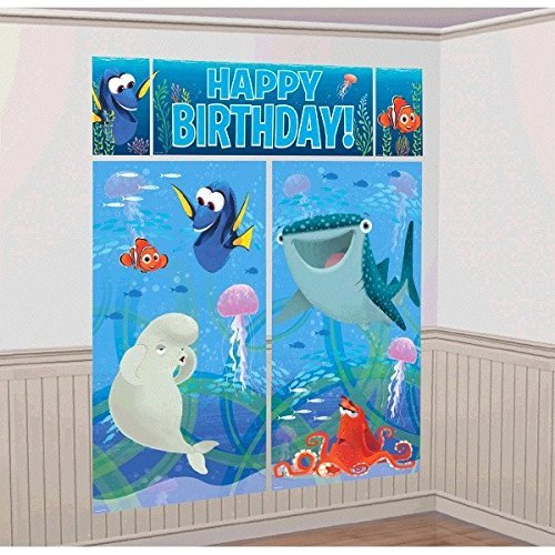 Disney Finding Dory Kids Party Scene Setter Wall Decorations Kit - Kids Birthday and Party Supplies -