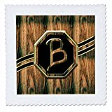 3D Rose Elegant Faux Gold and Wood Grain Monogram Letter B Quilt Square 12 by 12 Inch, 12 x 12