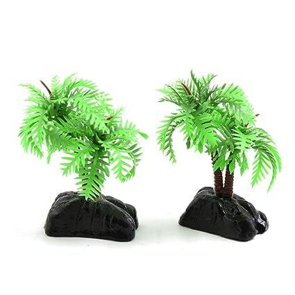 sourcingmap 2Pcs Plástico Verde Del Árbol De Coco Mini Acuario Pecera Paisaje Acuático Decoración W/