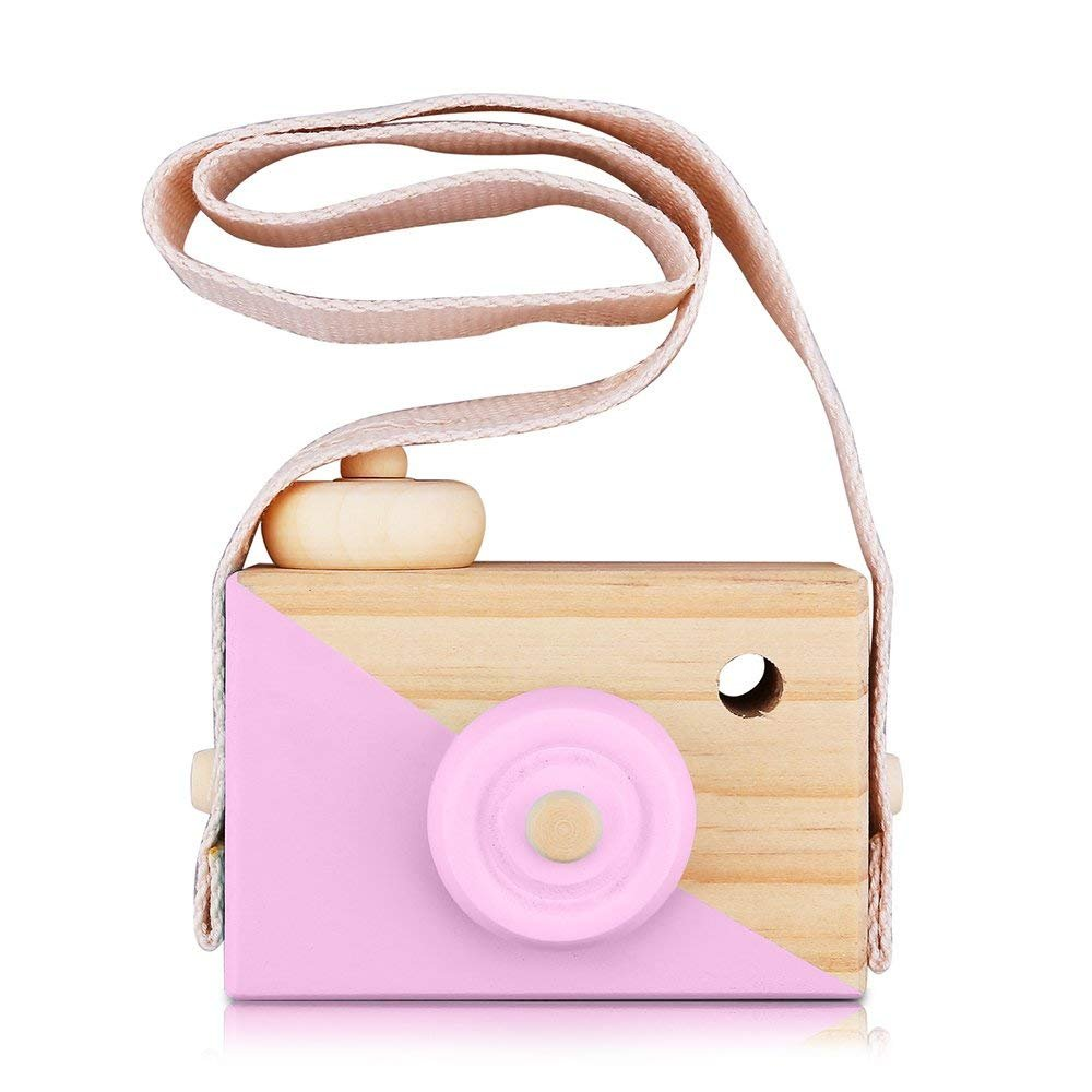 Kids Wooden Mini Camera Toy – PCloud Natural Cute Wood Camera Sharpe Toy with Neck Strap for Baby Toddlers Children, Kids Room Hanging Décor,Perfect Birthday (Pink) Erlvery DaMain