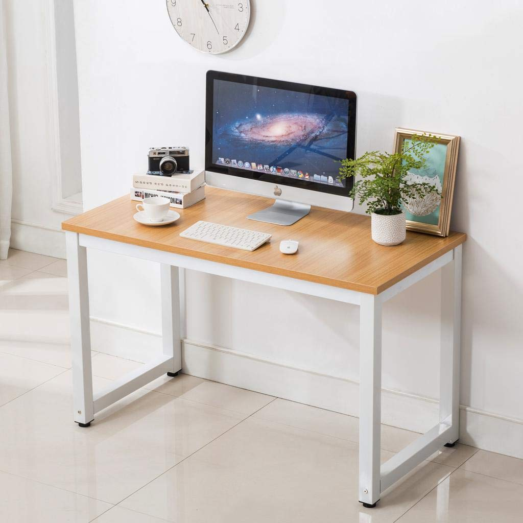Writing Table/Modern Computer Desk/Children Study Desk, Simple Design, Steel Frame, Wood Color Top, for Studio, Home Office,Workstation and School 43.3'' Lx23.6 Wx29.1 H