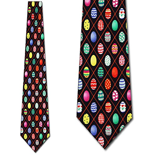 Easter Egg Chex (Navy) tie Mens Necktie by Three Rooker (Tie Eggs Easter)