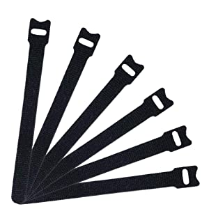 """60 PCS Black Cable Management Ties,Viaky 6"""" Inches (15cm) Reusable Self-Gripping Cord Straps Fastening Microfiber Cloth Hook and Loop Cord Ties, Organize Wires, Cord Organizer for Desks and Workshop"""