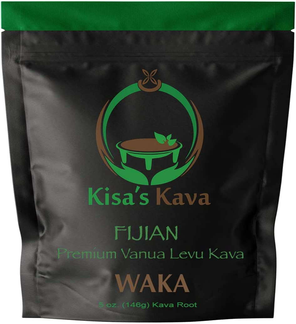 Kisa's Kava - Premium Noble Fijian Kava Root Powder (WAKA) - All Natural Stress Relief - Helps Body Relax to Improve Sleep - 24 Servings - 5 oz.