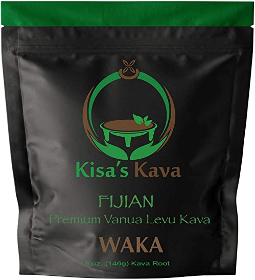 Kisa's Kava - Premium Noble Fijian Kava Root Powder WAKA - All Natural Stress Relief - Helps Body Relax to Improve Sleep - 24 Servings - 5 oz.