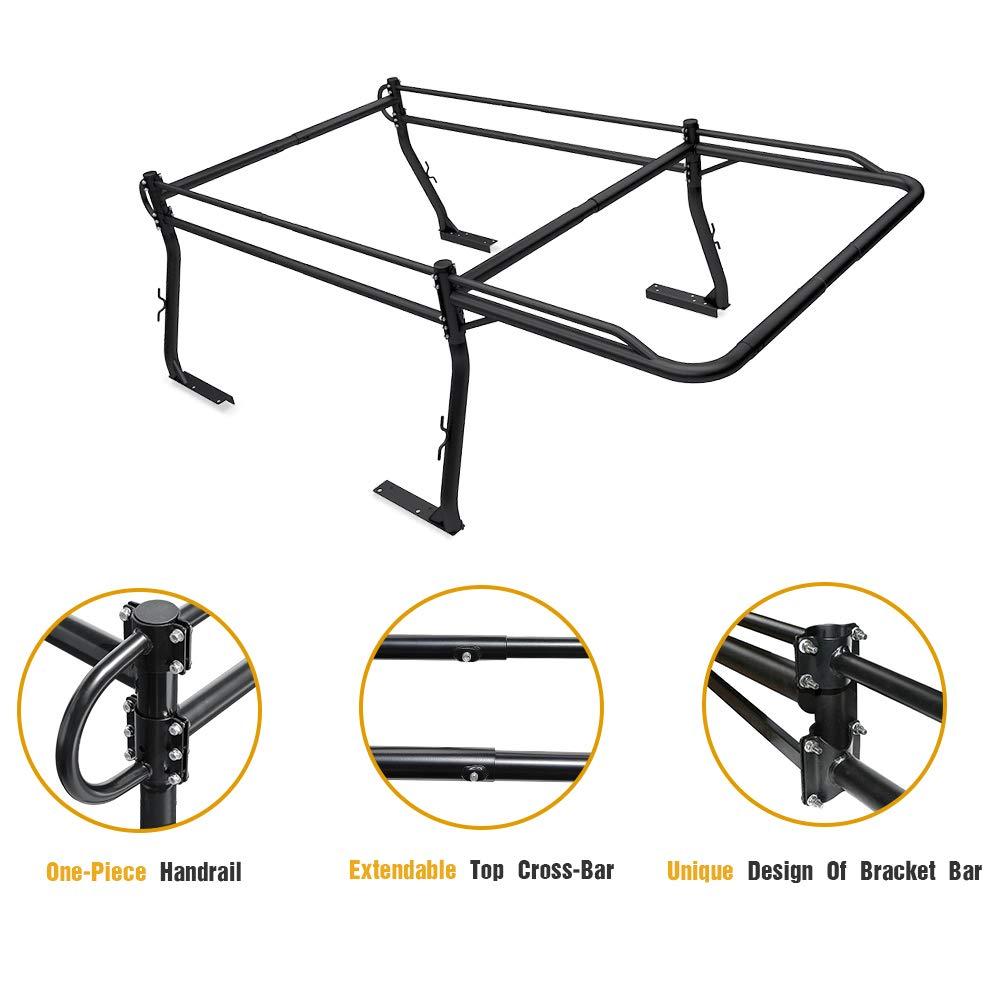 -Matte Black AA-Racks Model X3501 Short Bed Truck Ladder Rack Side Bar with Short Over-cab Ext
