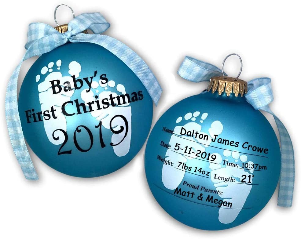 Printed Wood Christmas Tree Ornament Christmas Gifts for Newborn Baby Son Granddaughter 1st Christmas Present for Grandson Personalised Babys First Christmas Tree Decoration Gifts Daughter