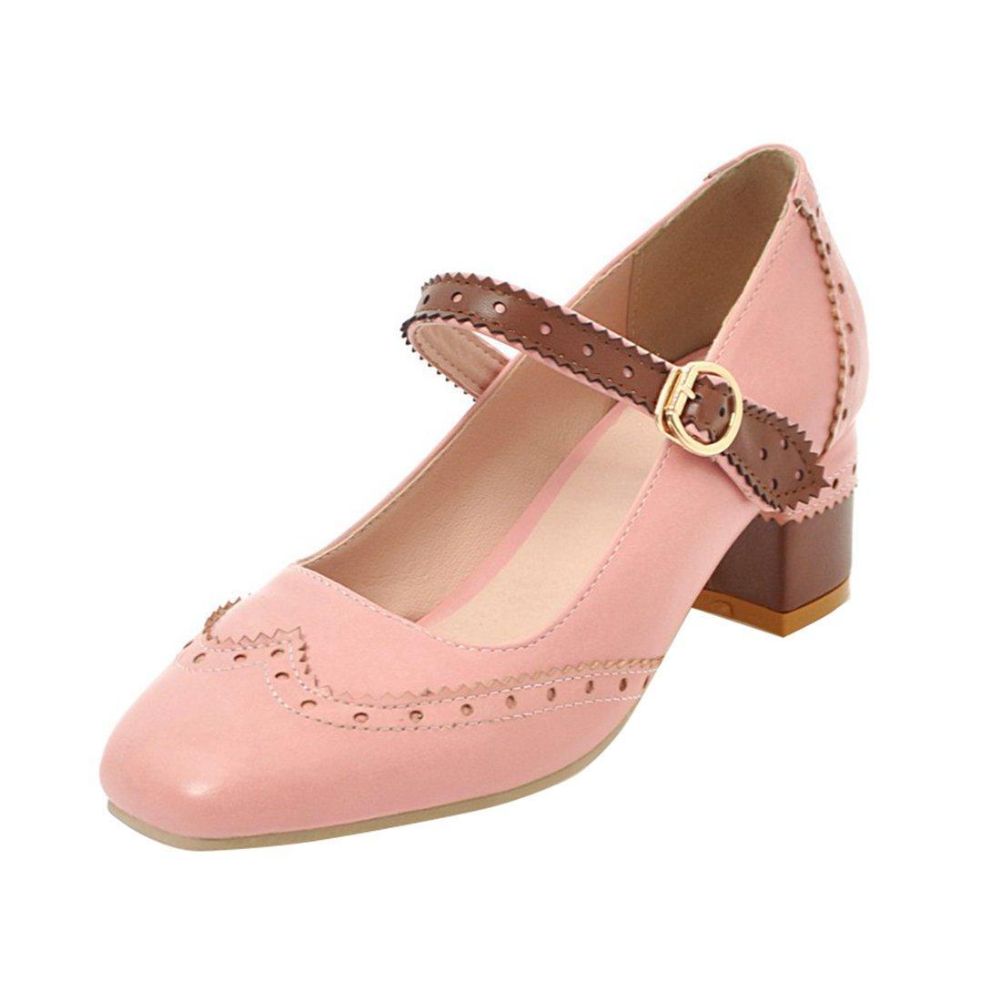 YE Damen Mary Janes Brogue Pumps Blockabsatz High Heels mit Riemchen Elegant Schuhe  41 EU|Rosa