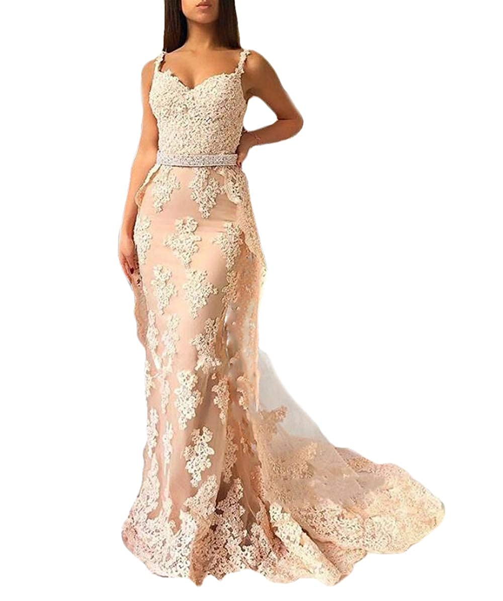 bluesh WZW Stunning Beautiful Mermaid Prom Gown 2019 Spaghetti Strap Appliques Lace Evening Party Dresses
