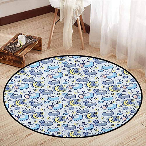 - Skid-Resistant Rugs,Kids,Hand Drawn Style Pattern Crescent Moons Stars and Sheep Night Time Lullaby,Ideal Gift for Children,2'7