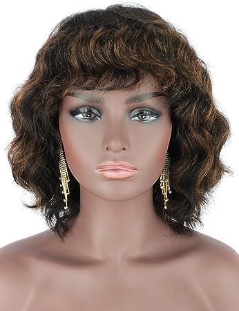 Amazon Com Beauart 100 Remy Human Hair Wig With Hair Bangs Black