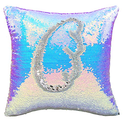 ICOSY Sequin Pillow Case, Mermaid Pillow Cover Decorative Cushion Cover Reversible Sequin Pillowcase 16
