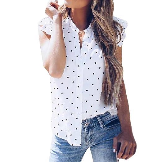 202d81b22a142 Inverlee Fashion Womens Sexy Chiffon Vest Dot Printing Sleeveless Tops  Blouse T-Shirt (S