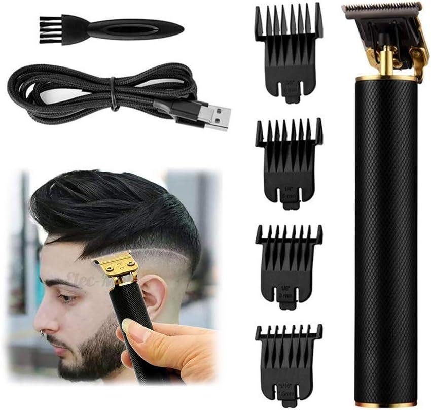EKUPUZ Outliner Recortadora de corte inalámbrico recargable de corte cerrado para hombres de 0 mm calvo, cortadora de pelo con detalle cero huecos para barbero, color negro