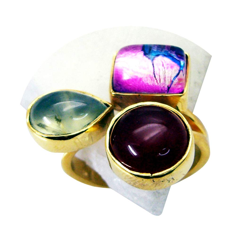 Jewelryonclick Real Multi Stone Gold Plated Ring for Women Chakra Healing Jewelry Size 5,6,7,8,9,10,11,12