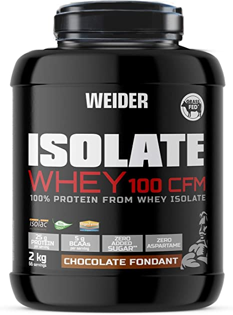 Weider Isolate Whey 100CFM 2000 gr Chocolate. 100% aislado de proteina de suero. Cero azúcar, cero aspartamo, con stevia, con dygezime, con BCAA, apto ...
