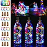 Bottle Lights, BIG HOUSE 12 Pack 2M 20 LEDs Copper Wire Battery Operated Wine Lights with Cork LED String Lights for DIY Bedrooms Parties Weddings Indoor Christmas Outdoor Decoration (Multi-Color)