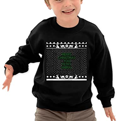 merry christmas you filthy animal kids long sleeve crewneck sweater for boys girls