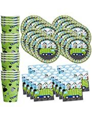 Birthday Galore Garbage Trash Truck Party Supplies Set Plates Napkins Cups Tableware Kit for 16