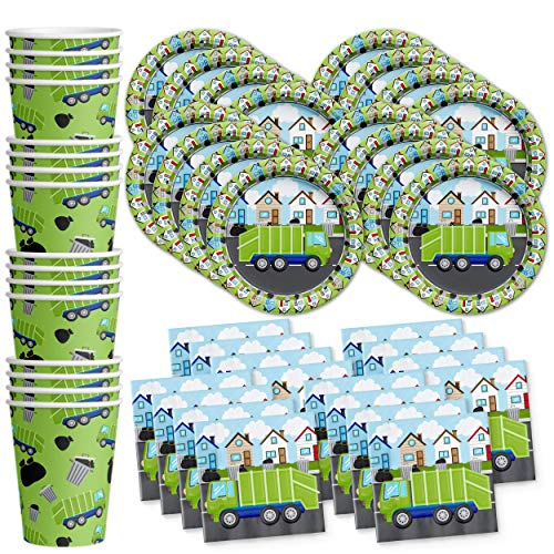 (Garbage Trash Truck Party Supplies Set Plates Napkins Cups Tableware Kit for 16)