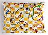 Lunarable Board Game Pillow Sham, Chinese New Year Concept Number Blocks Traditional Cultural Figures Oriental, Decorative Standard Size Printed Pillowcase, 26 X 20 inches, Multicolor