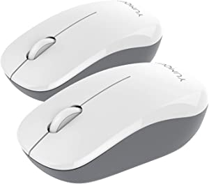 YUMQUA SB226-W Wireless Mouse 2 Pack, 2.4GHz USB Optical Silent Mouse with Nano USB Receiver, Portable Cordless Mouse for Laptop Computer PC Desktop, White&Grey (2 Pack)