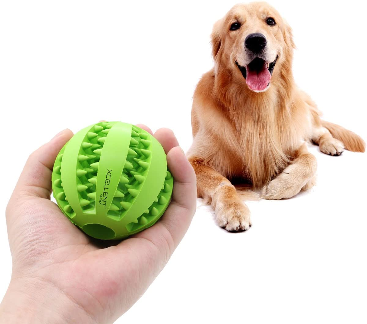 Dog Chew Ball Toy Tooth Cleaning Dental Treat Bite Resistant Durable Bouncy Rubber Dog Toy Ball for Chewing/Training/Playing PT034