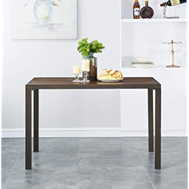 """O&K Furniture 48"""" Industrial Dining Table with Wood Table Top,Wood and Metal Computer Desk, Farmhouse Style Study Writing Table for Home Office School, 1-PC"""