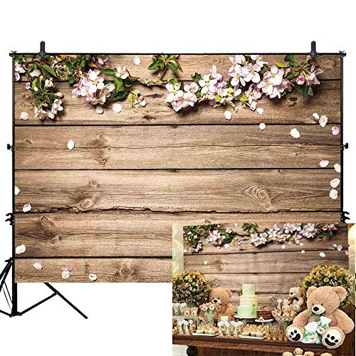 (Allenjoy 7x5ft Thin Vinyl Rustic Wood Wedding Flowers Floral Backdrop Wooden Texture Board Floor Wall Photography Backgrounds Bridal Shower Baby Shower Birthday Party Banner Photo Studio Props )