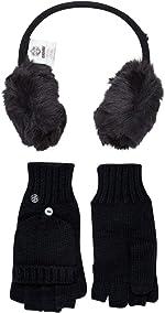 Khombu Womens Faux Fur Earmuff and Cable Knit Flip Top Glove