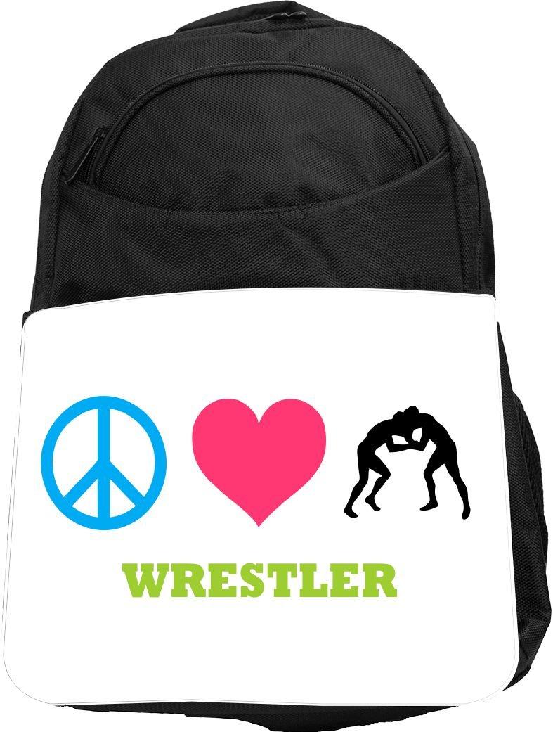 Rikki Knight UKBK Peace Love Wrestler Tech BackPack - Padded for Laptops & Tablets Ideal for School or College Bag BackPack